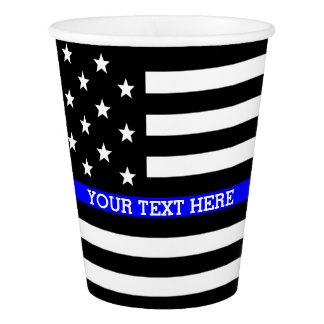 Thin Blue Line - American Flag Personalized Custom Paper Cup