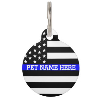 Thin Blue Line - American Flag Personalized Custom Pet Name Tag