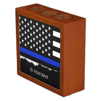 Thin Blue Line American Flag Personalized Desk Organiser