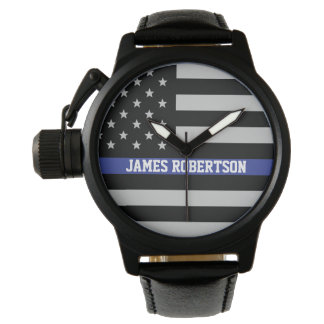 Thin Blue Line - American Flag Personalized Watches
