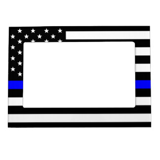 Thin Blue Line - American Flag Photo Frame Magnets