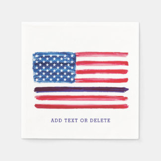 Thin Blue Line American Flag Police Officer Disposable Napkin