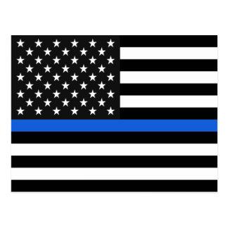 Thin Blue Line American Flag Postcard
