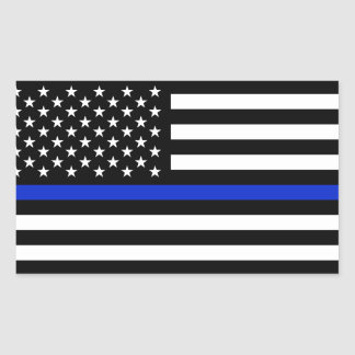 Thin Blue Line American Flag Rectangular Sticker