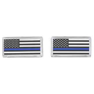 Thin Blue Line American Flag Silver Finish Cuff Links