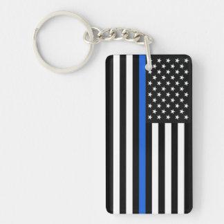 Thin Blue Line American Flag Single-Sided Rectangular Acrylic Key Ring