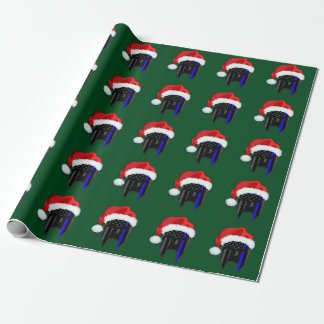 THIN BLUE LINE American Flag Spartan Santa Wrap Wrapping Paper