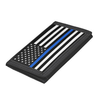 Thin Blue Line American Flag Tri-fold Wallets