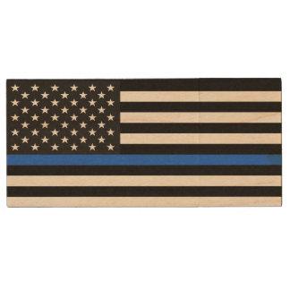 Thin Blue Line American Flag Wood USB 2.0 Flash Drive