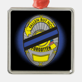 Thin Blue Line Badge Metal Ornament