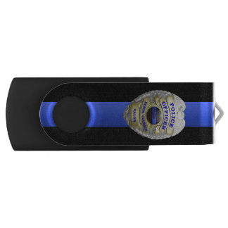 Thin Blue Line Badge Swivel USB 2.0 Flash Drive