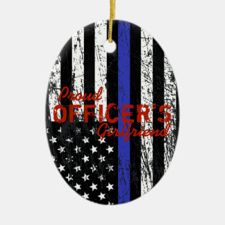 Thin Blue Line Ceramic Ornament