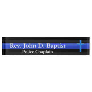 Thin Blue Line - Chaplain Cross Name Plate