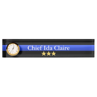 Thin Blue Line - Chief 3 Stars Rank Desk Nameplates