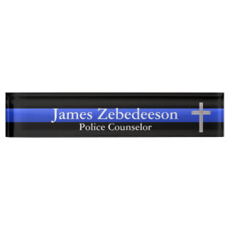 Thin Blue Line - Counselor Cross Name Plate