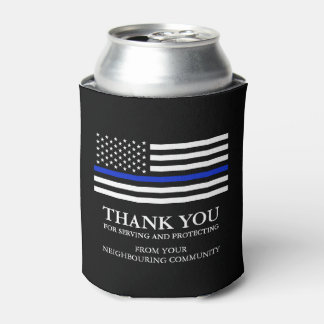 Thin Blue Line Custom Patriotic Thank You Can Cooler