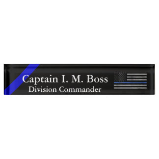 Thin Blue Line - Distressed Tattered Flag Desk Nameplate