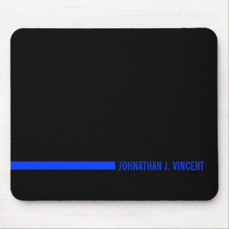 Thin Blue Line Ending with a Custom Name Mouse Pad