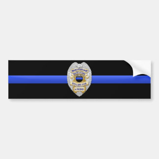 Thin Blue Line Flag & Badge Bumper Sticker
