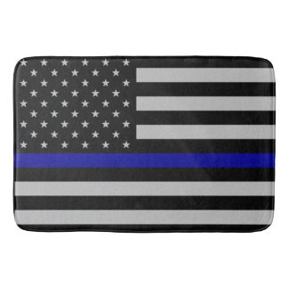 Thin Blue Line Flag Bath Mat