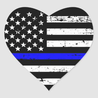 Thin Blue Line Flag Heart Sticker