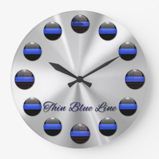 Thin Blue Line Flag Inlay Buttons Large Clock