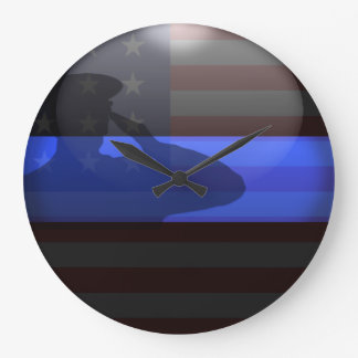 Thin Blue Line - Flag Salute Wallclock