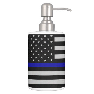 Thin Blue Line Flag Soap Dispenser And Toothbrush Holder