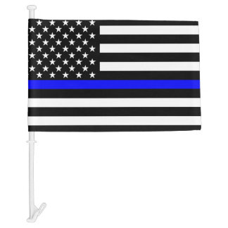 Thin Blue Line Graphic on a US Flag Car Flag