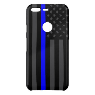 Thin Blue Line Grey American Flag graphic on a Uncommon Google Pixel Case
