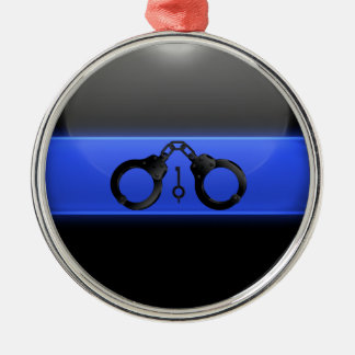 Thin Blue Line Handcuffs and Key Metal Ornament