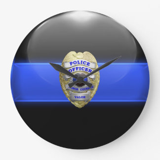 Thin Blue Line - High Resolution Police Badge Large Clock
