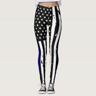 Thin Blue Line Leggings - Vertical