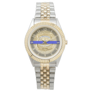 Thin Blue Line Memorial Tribute Gold Watch