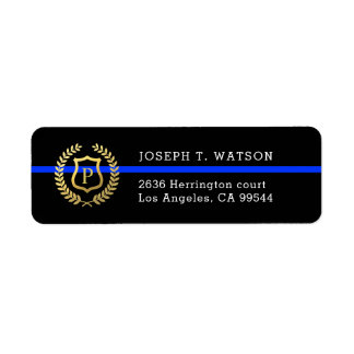 Thin Blue Line Monogram Faux Gold Shield Address Return Address Label