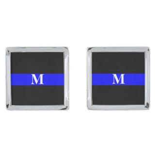 Thin Blue Line Monogram Silver Finish Cufflinks