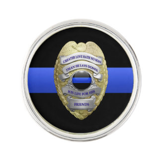 Thin Blue Line - No Greater Love Badge Lapel Pin