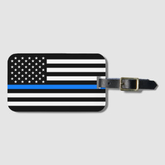 """THIN BLUE LINE ON AMERICAN FLAG"" LUGGAGE TAG"