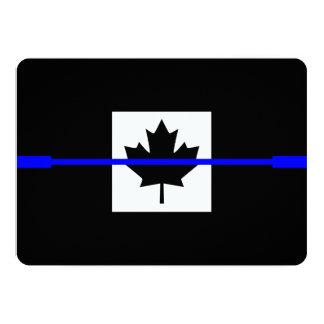 Thin Blue Line on Canadian Flag Design 13 Cm X 18 Cm Invitation Card
