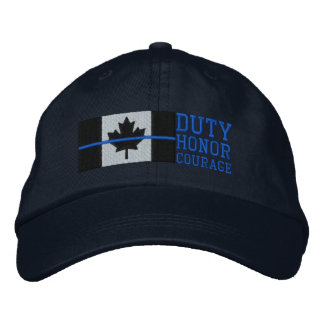 Thin Blue Line on Canadian Flag Duty Honor Courage Embroidered Baseball Caps