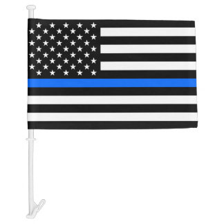 """THIN BLUE LINE on FLAG"" Car Flag"