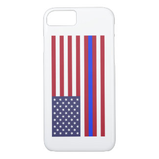 """THIN BLUE LINE on FLAG"" iPhone 8/7 Case"