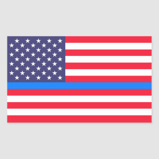 """THIN BLUE LINE on FLAG"" Rectangular Sticker"