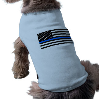 """THIN BLUE LINE on FLAG"" Sleeveless Dog Shirt"
