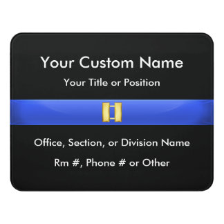 Thin Blue Line Police Captain Door Sign
