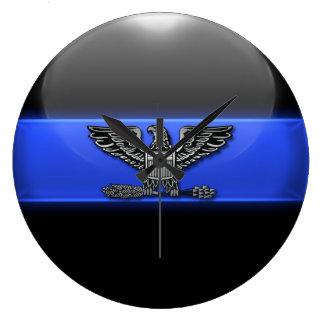 Thin Blue Line - Police Chief Eagle Insignia Large Clock