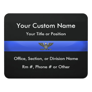 Thin Blue Line Police Chief or Colonel Door Sign