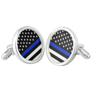 Thin Blue Line Police Flag Cufflinks