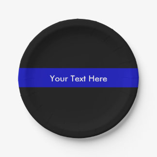 Thin Blue Line police Law Support Paper Plate
