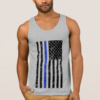 Thin Blue Line - Police Officer - Distressed Flag Singlet